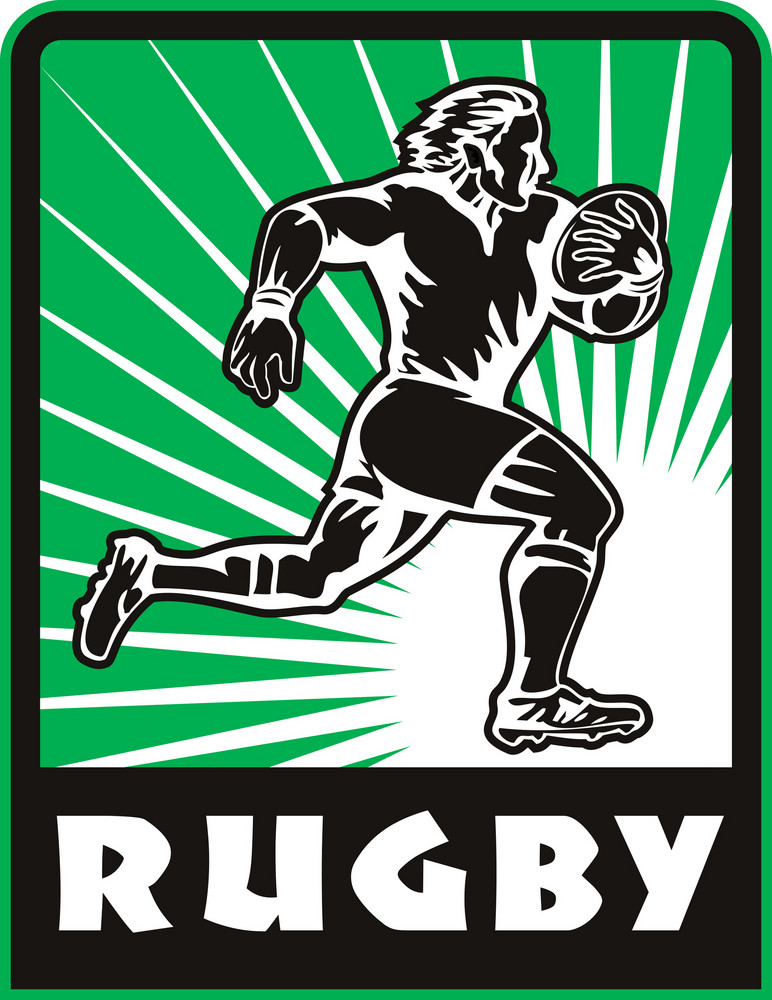 Rugby Player Running Ball