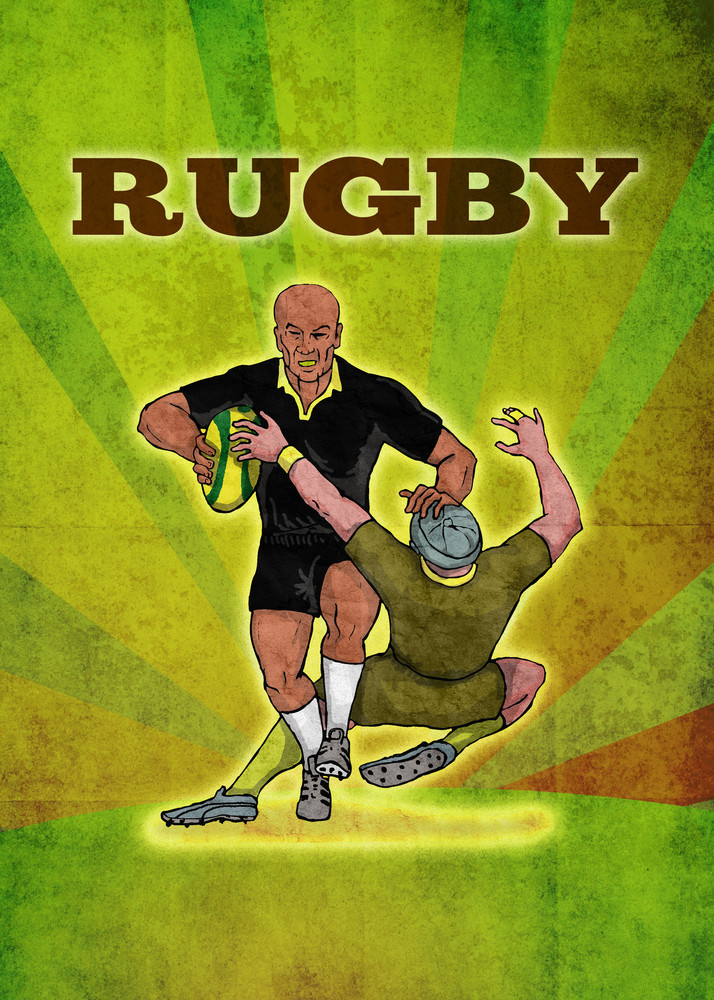 Rugby Player Running The Ball