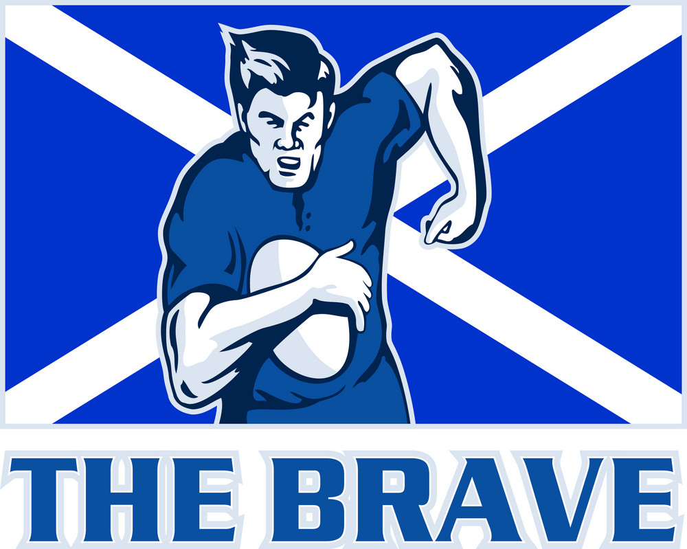 Rugby Player Scotland Flag The Brave