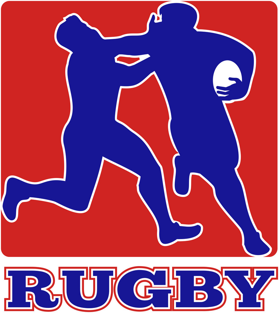 Rugby Player Tackle Fending Off