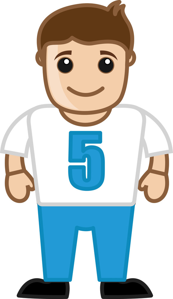 Rugby Player - Vector Character Cartoon Illustration