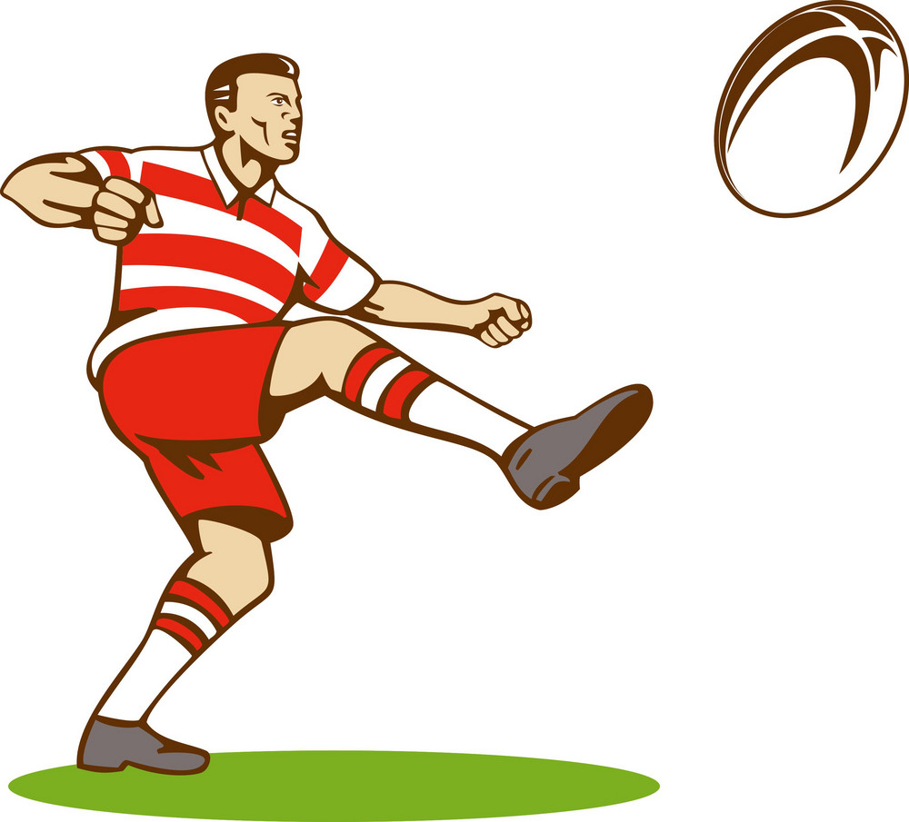 Rugby Player With Ball Kicking Ball