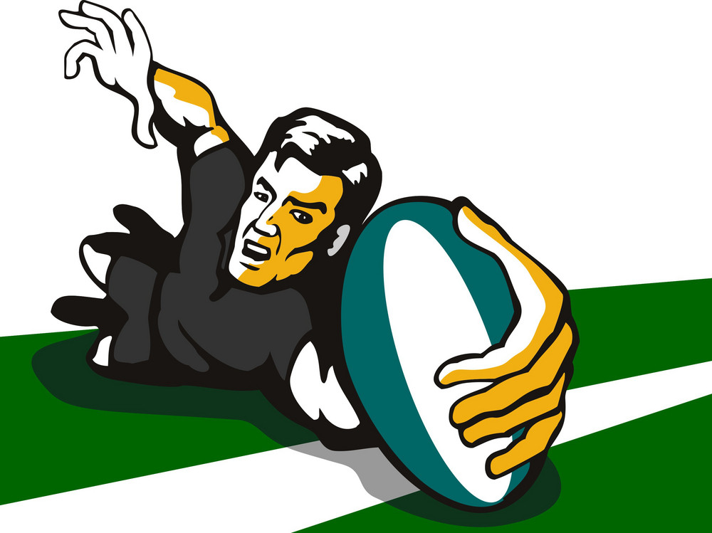 Rugby Reaching Out For A Try