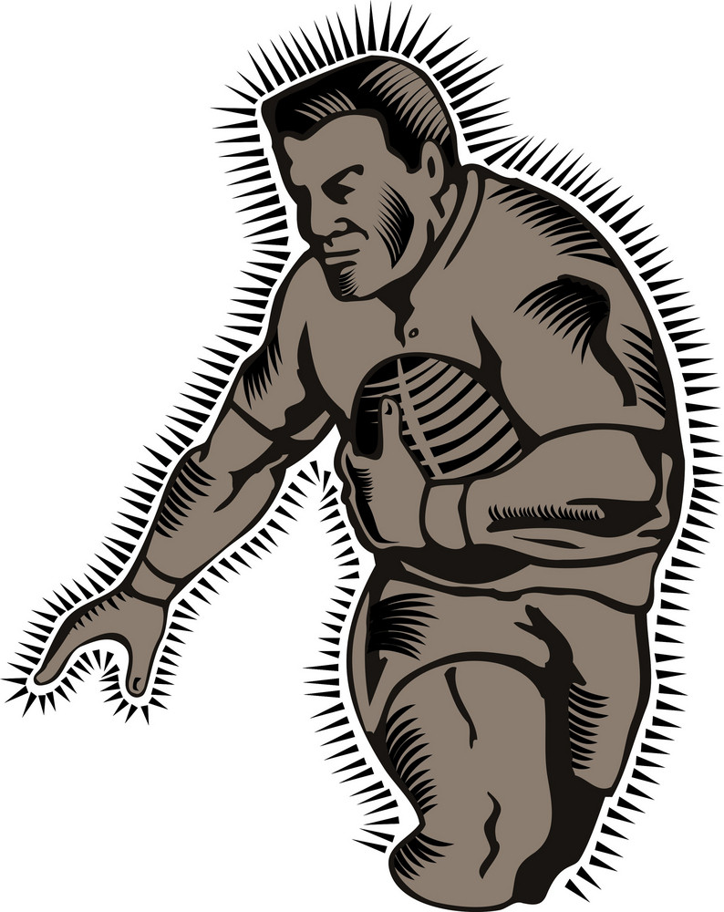 Rugby Running Try Woodcut