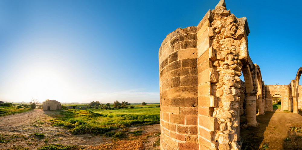 Ruins Of Agios Sozomenos Temple. Panoramic Photo.