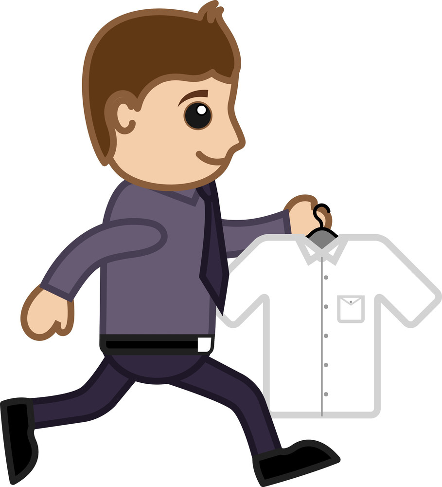 Running Carrying Shirt - Vector Character Cartoon Illustration