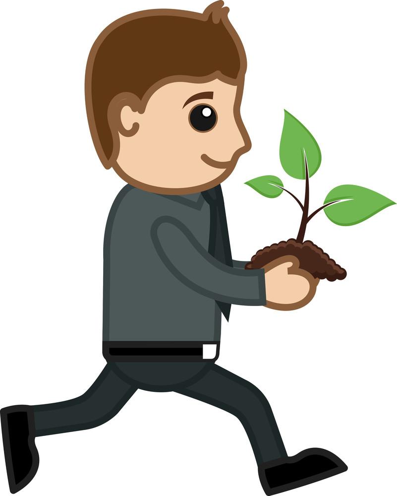 Running Holding Baby Plant - Vector Character Cartoon Illustration