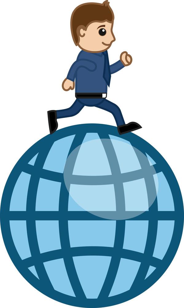 Running Over Globe Vector