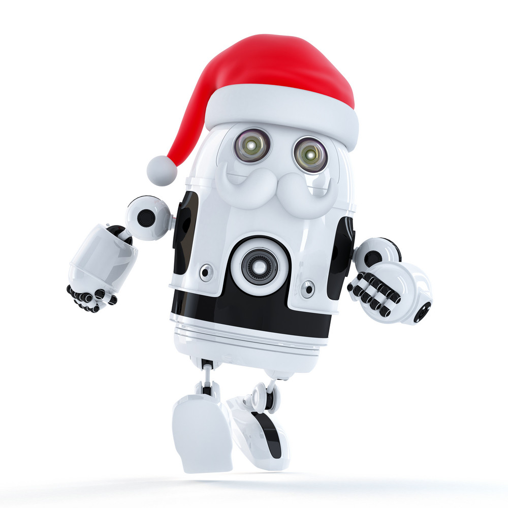 Running Santa Robot. Technology Concept