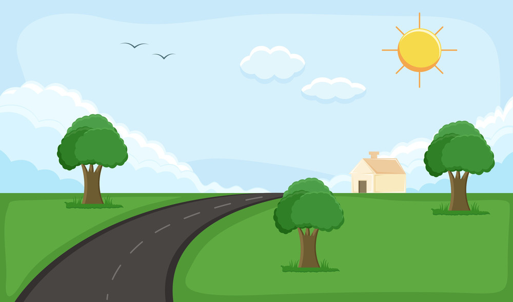 Rural Background - Cartoon Background Vector