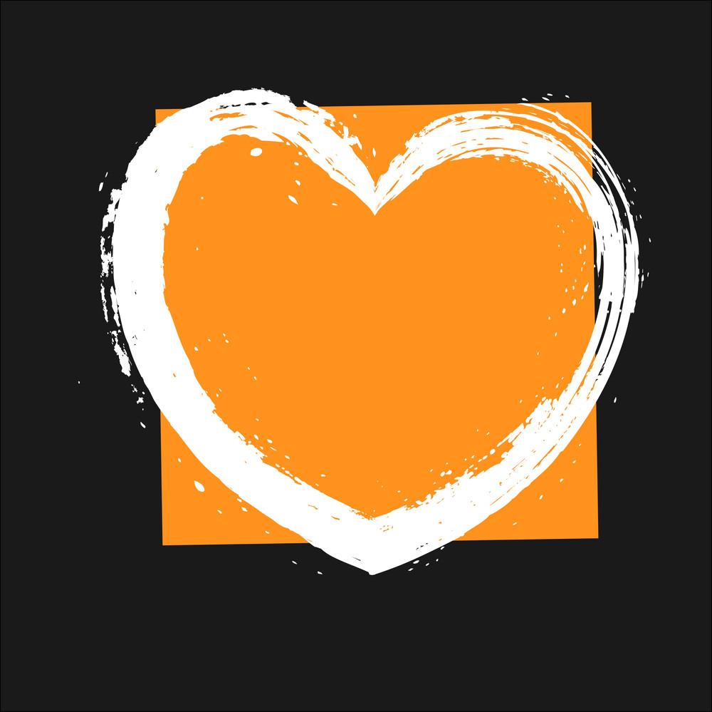 Rusty Grunge Heart Banner Vector Frame