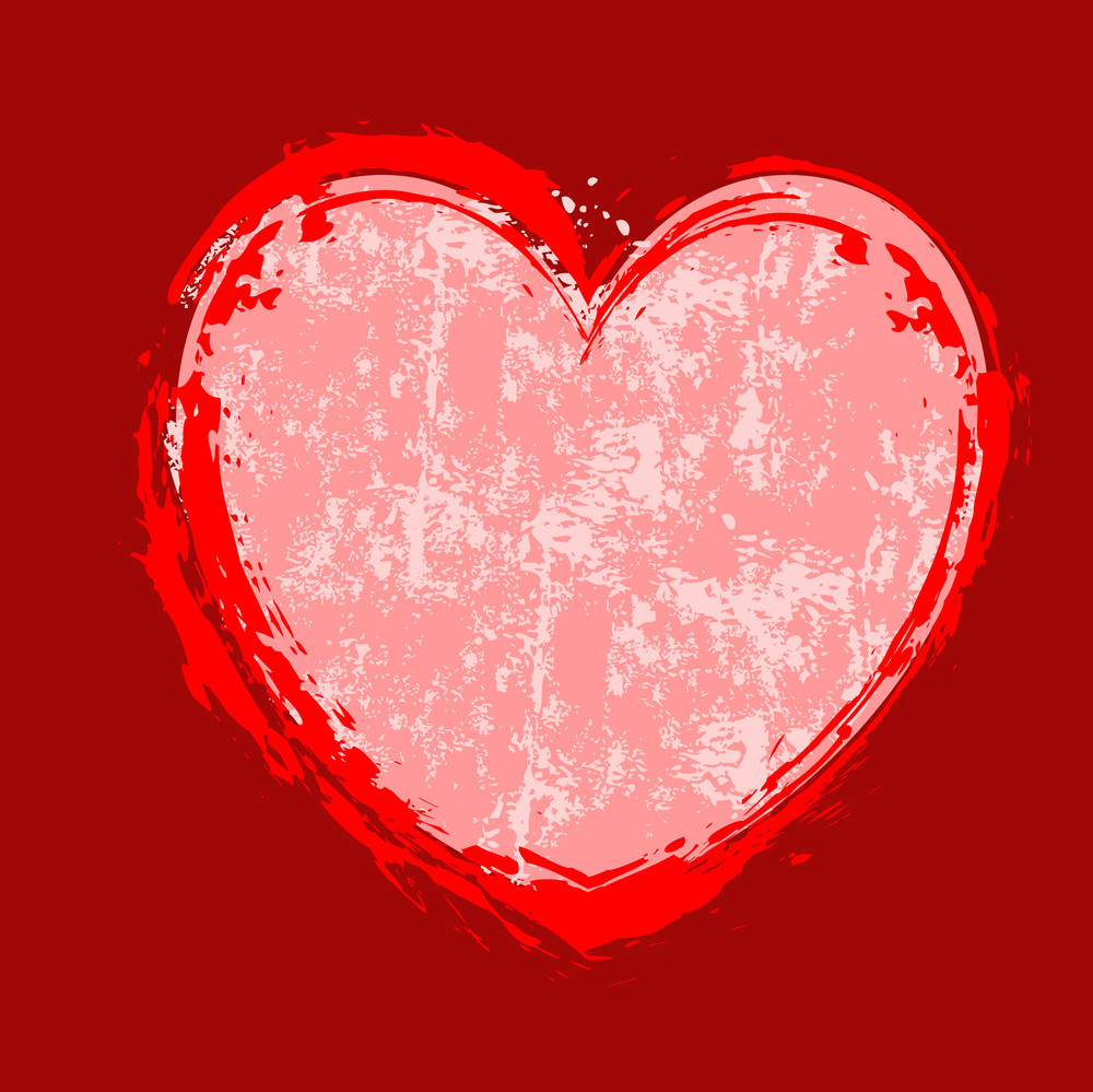 Rusty Grunge Texture Heart Banner