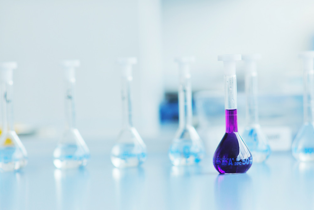 Test tubes in bright modern labaratory
