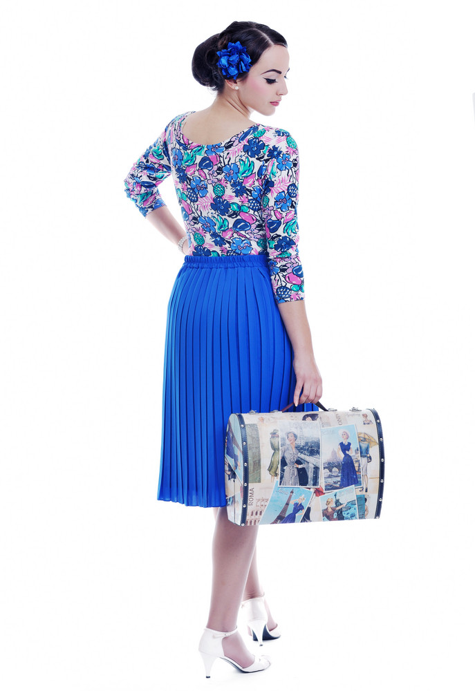Pinup retro woman with travel bag isolated