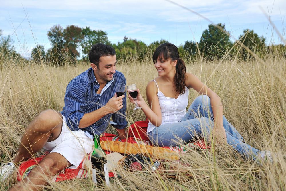 Happy Couple Enjoying Countryside Picnic In Long Grass