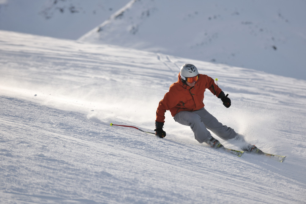 Skiing in winter