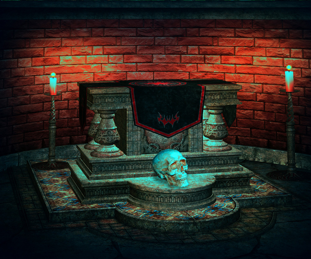 Sacrificial Altar Spooky Background