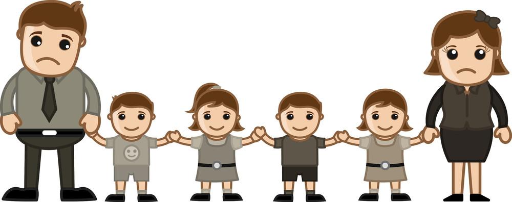 Sad Family - Vector Character Cartoon Illustration