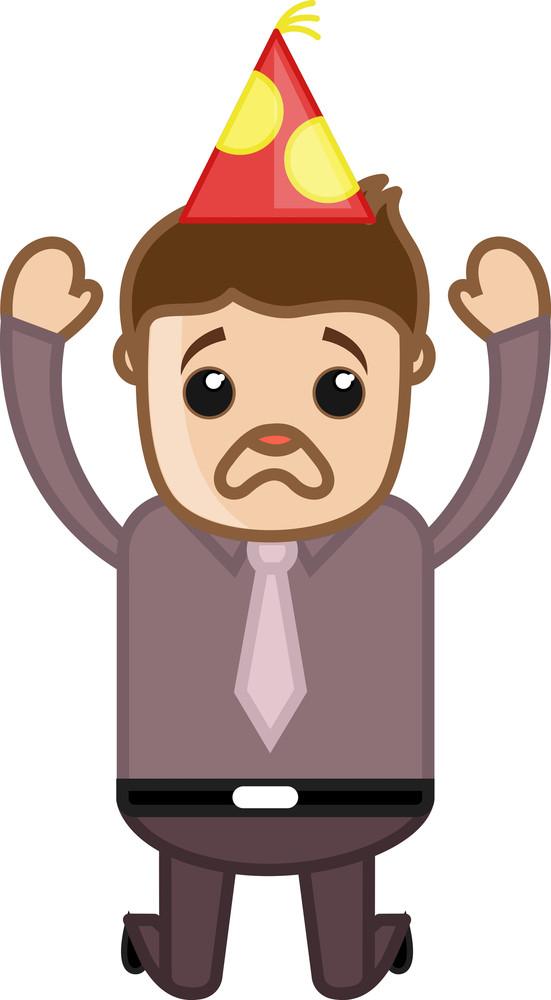 Sad Man Jumping - Cartoon Business Character