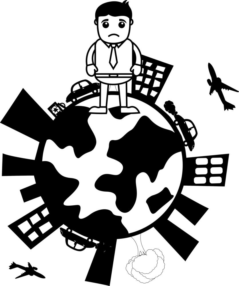 Sad Man On Earth - Vector Concept