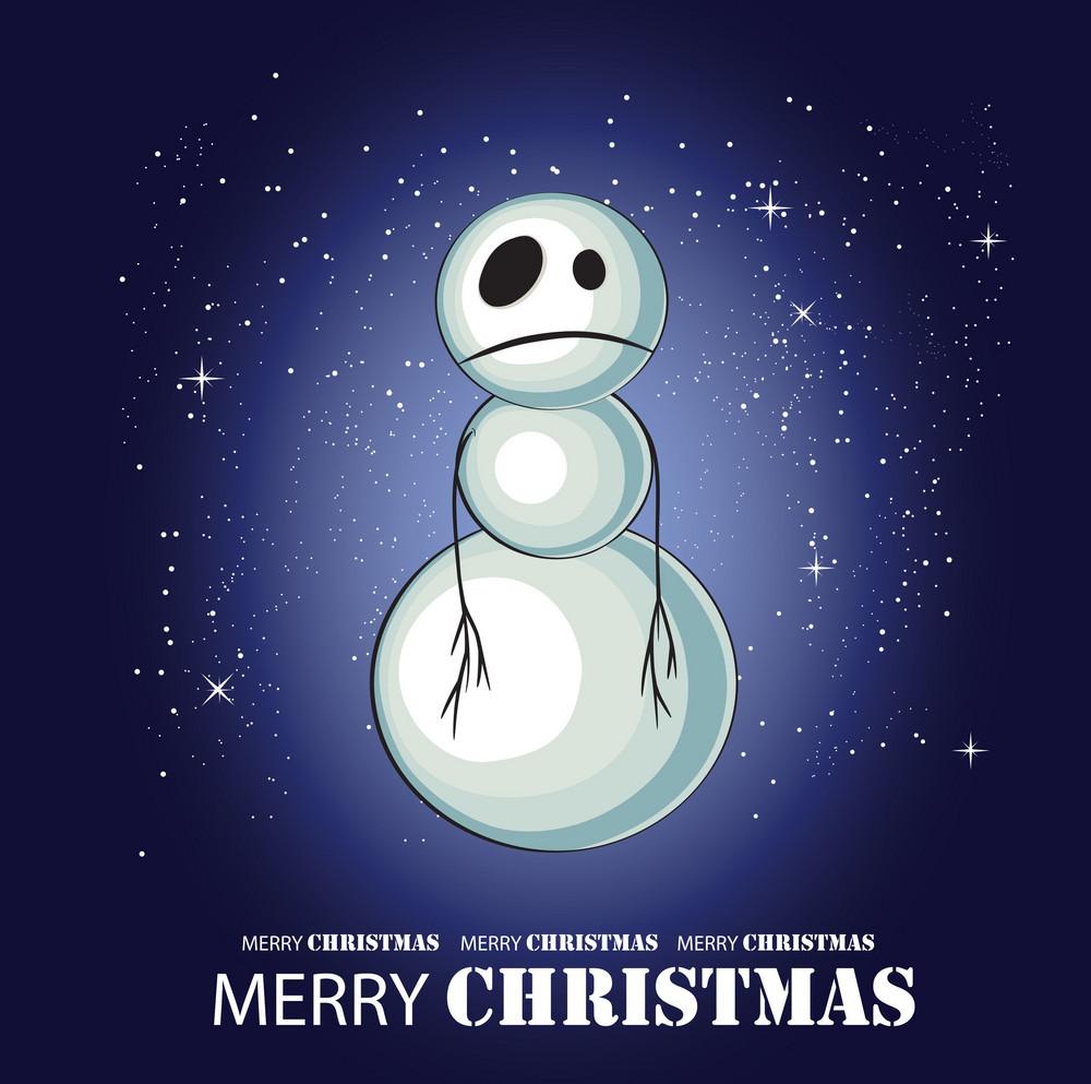 Sad Snowman Vector Greeting
