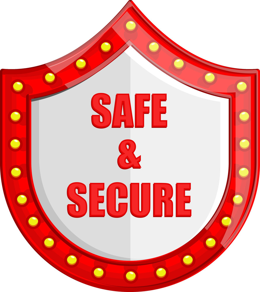 Safe And Secure Shield - Cartoon Vector