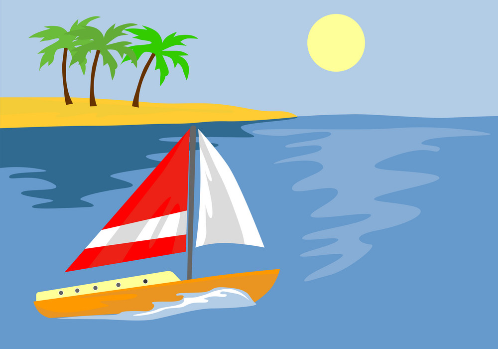 Sailboat With Island