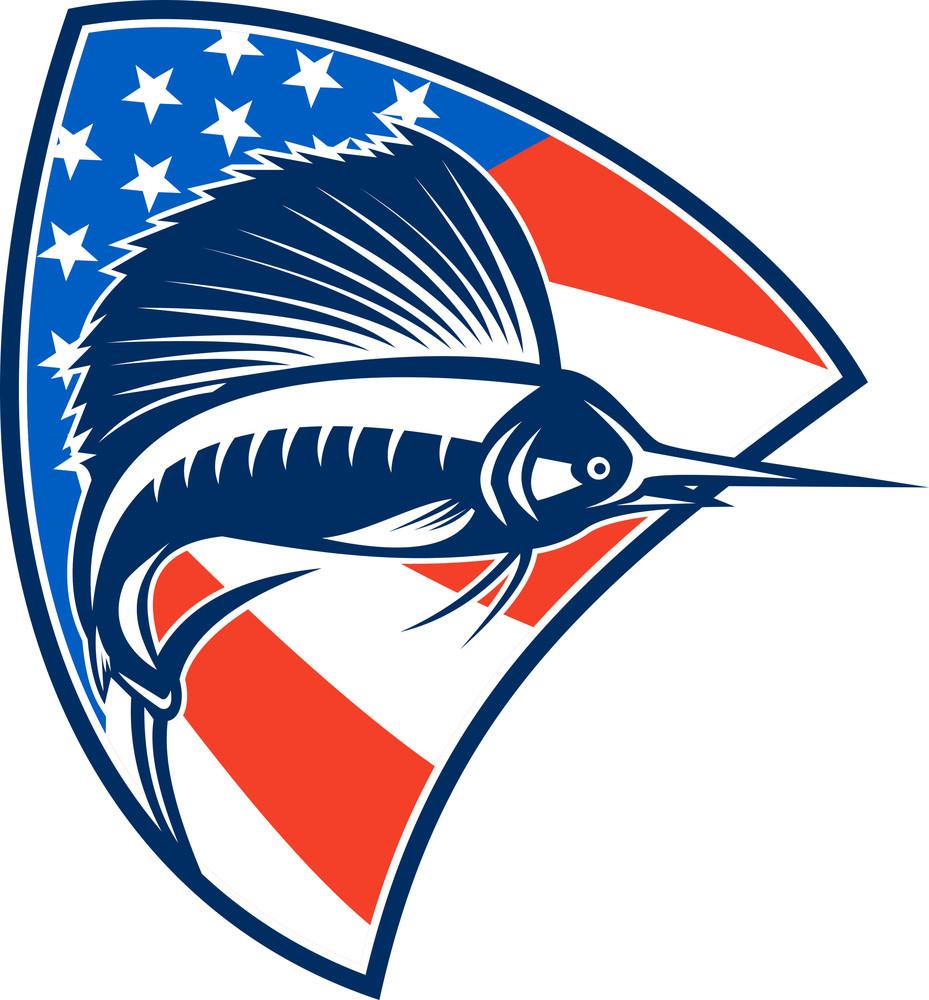 Sailfish Fish Jumping American Flag Shield Retro