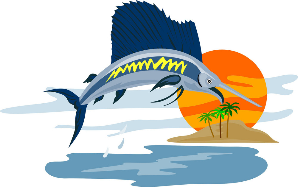 Sailfish Fish Jumping Island Background Retro