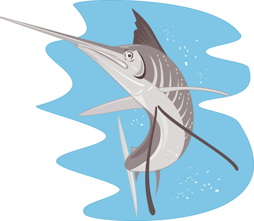 Sailfish Fish Jumping Retro