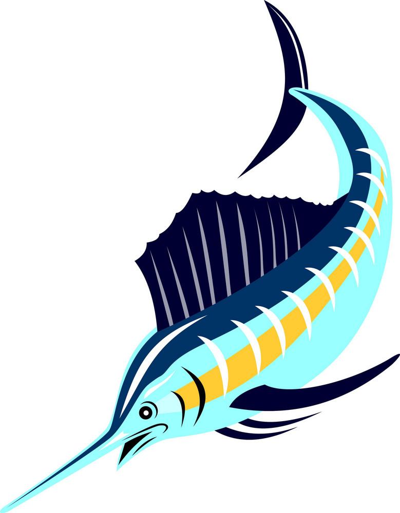 Sailfish Fish Jumping Retro