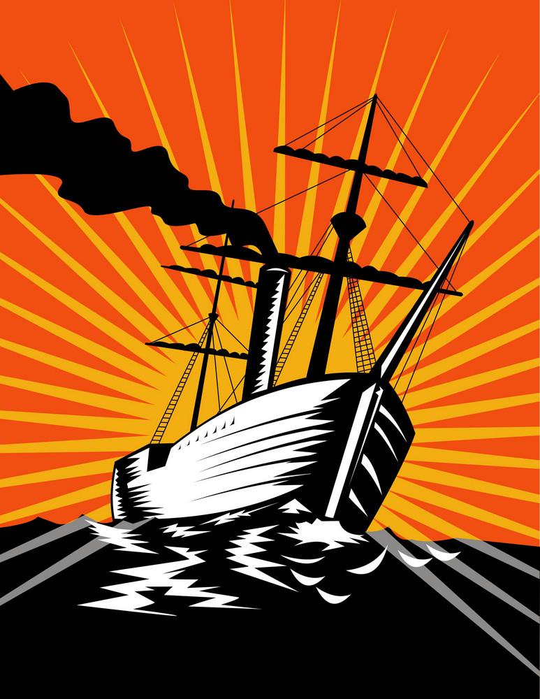 Sailing Ship Retro Woodcut