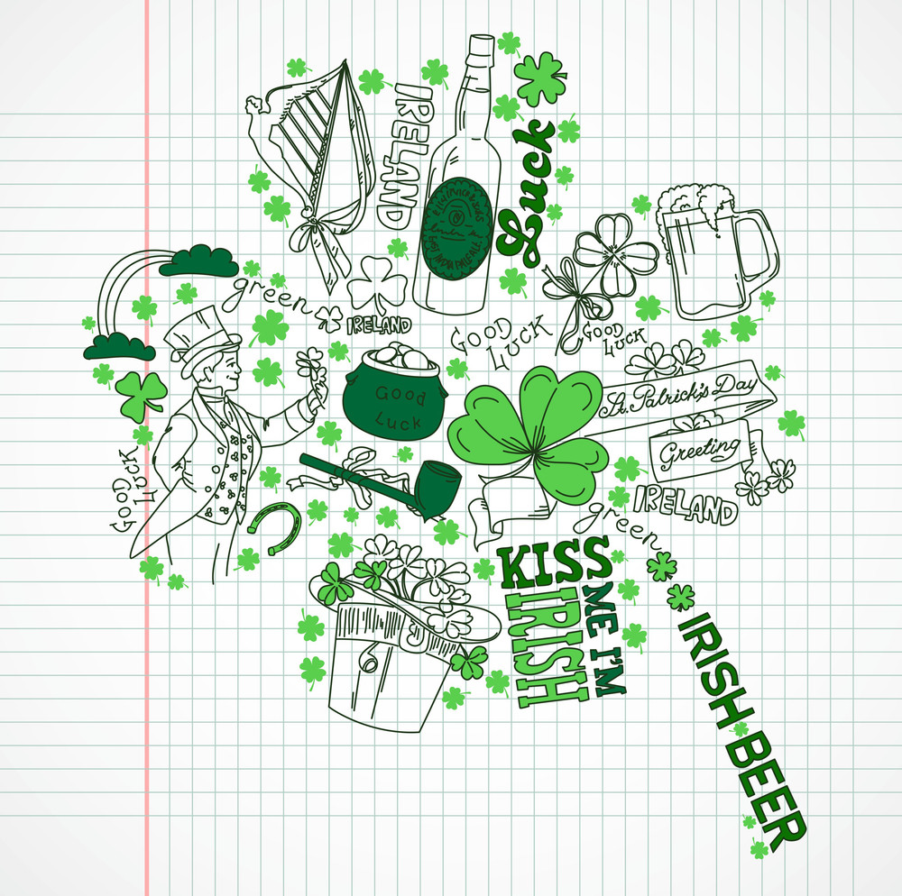 Saint Patrick's Day Doodles In The Shape Of Clover With Four Leaves