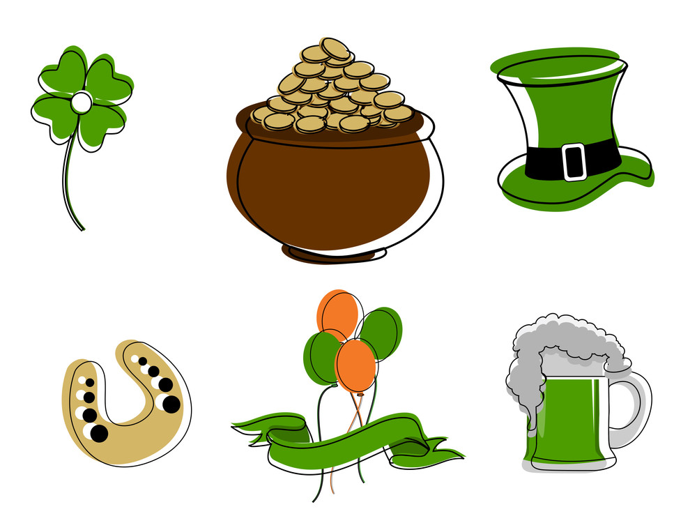 Saint Patricks Day Symbols Vector Set Isolated On White Royalty