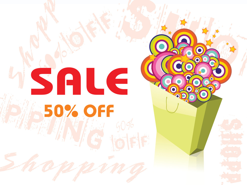 Sale 50% With Shopping Bag