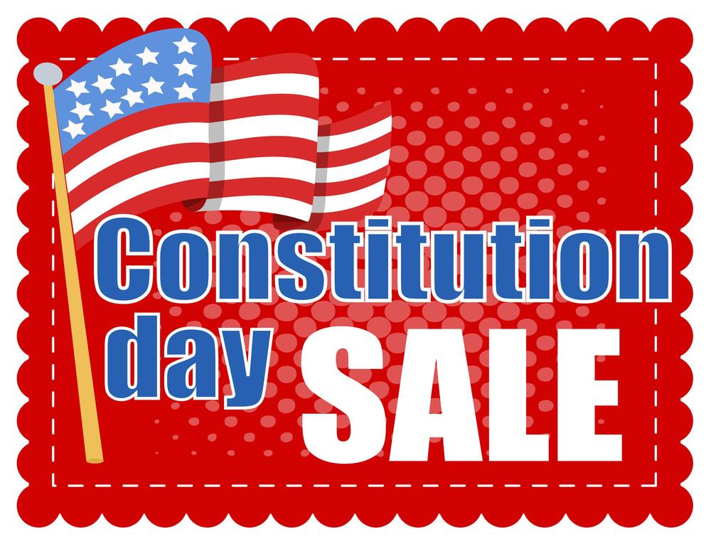 Sale Banner  Constitution Day Vector Illustration