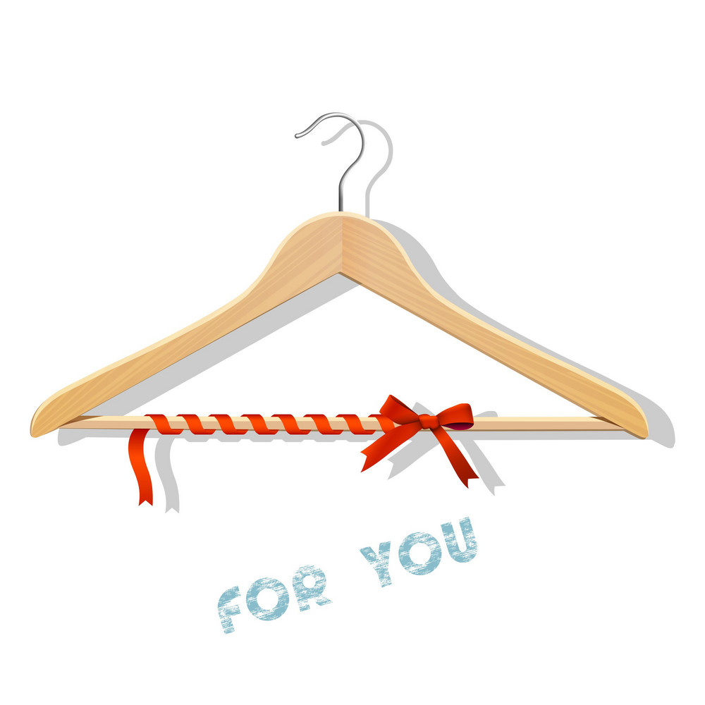 Sale Concept - Wooden Hangers Tied Red Ribbon