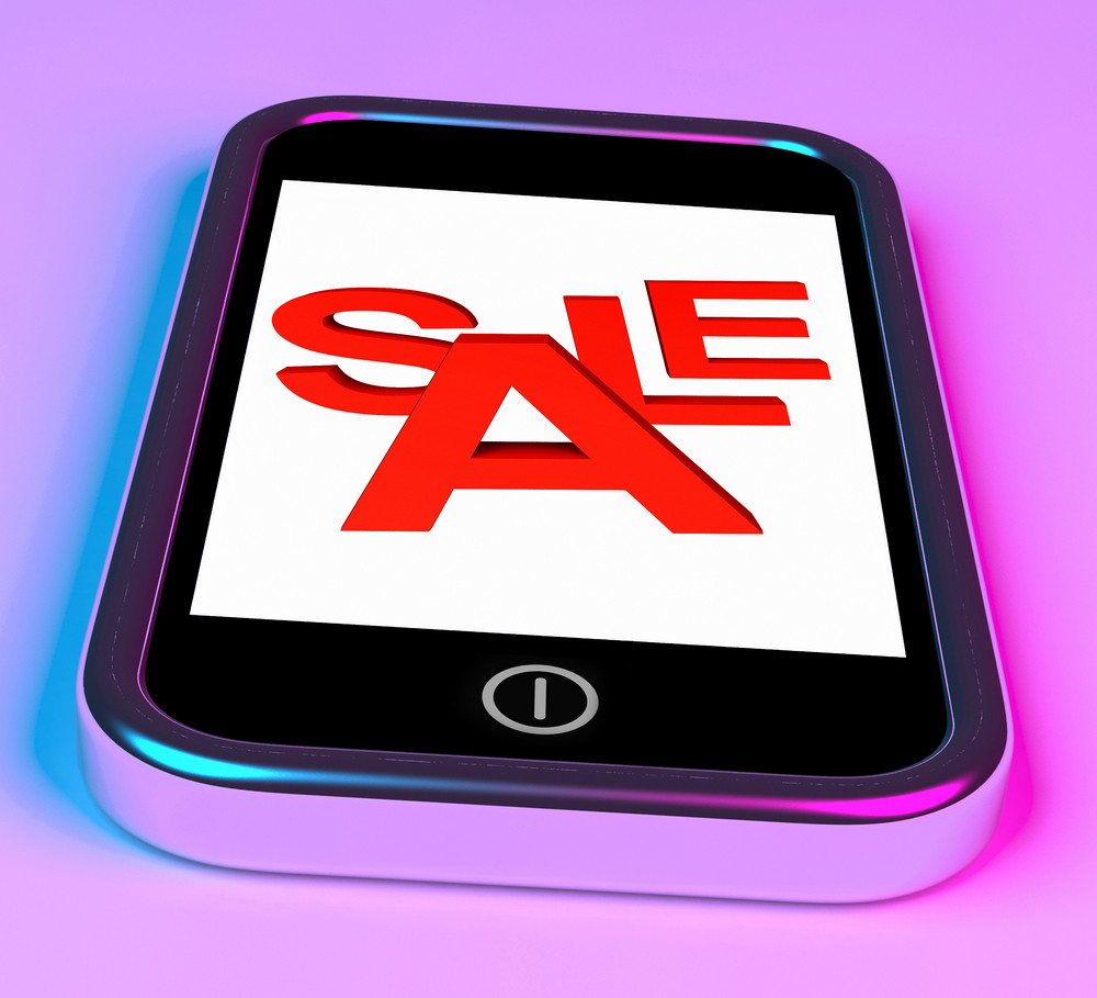 Sale Message On Smartphone Shows Online Discounts