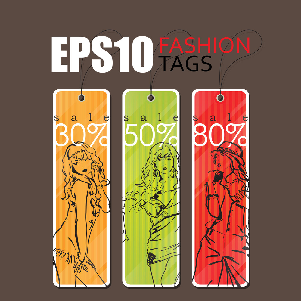 Sale Vector Tags With Fashion Girls. Eps10