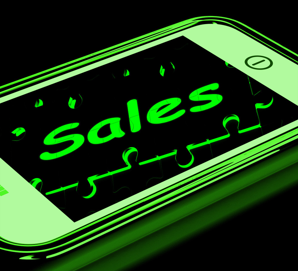 Sales On Smartphone Showing Mobile Marketing