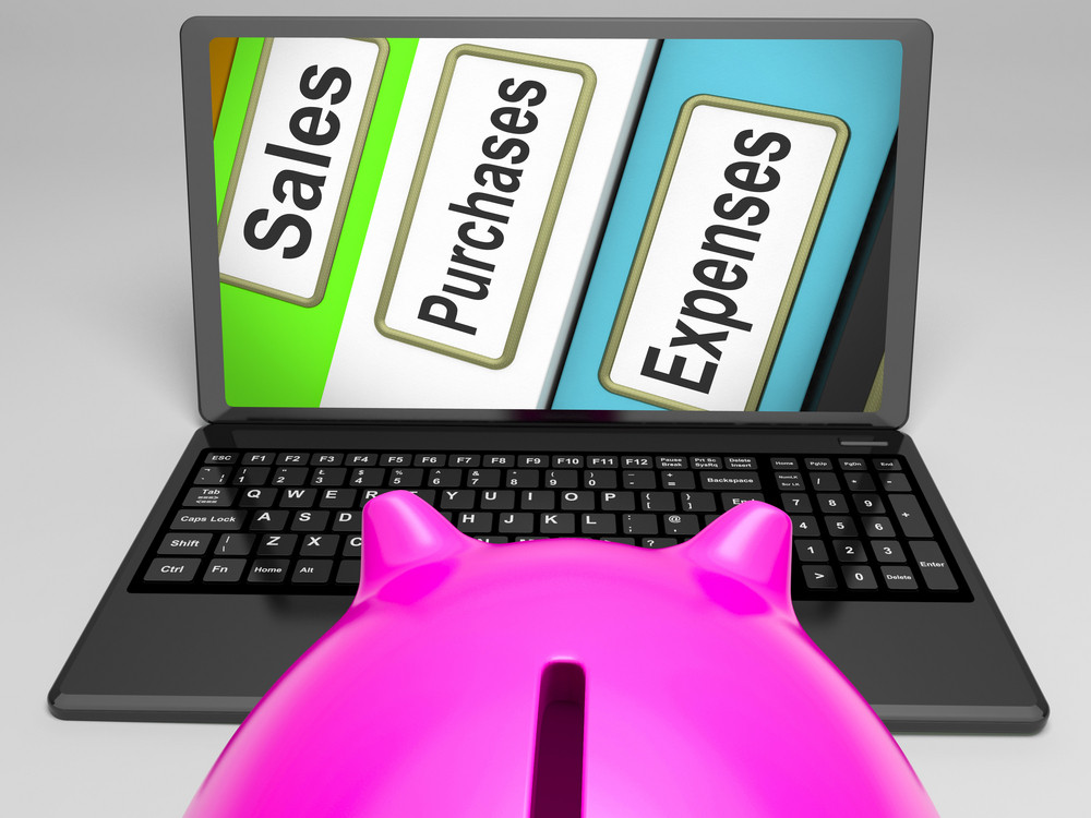 Sales Purchases Expenses Files On Laptop Shows Commerce