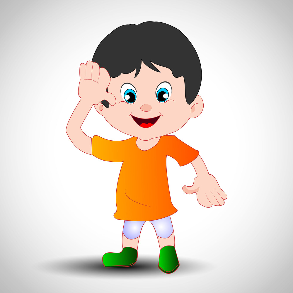 Saluting A Cartoon Boy In Indian Flag Dress.