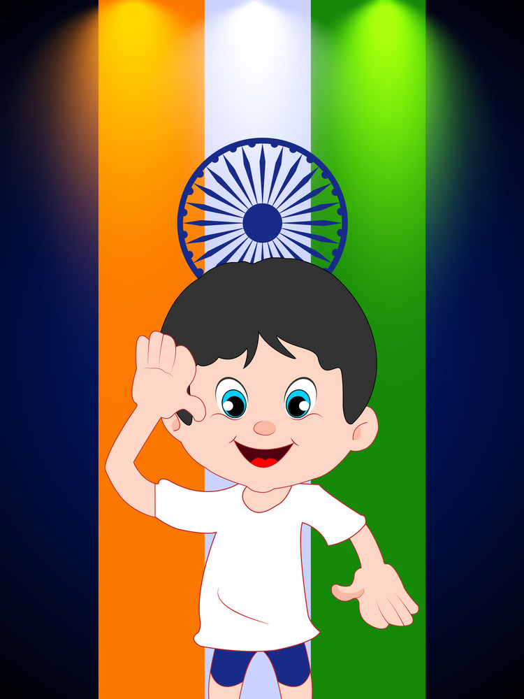 Saluting A Cartoon Boy With Indian Flag Background.