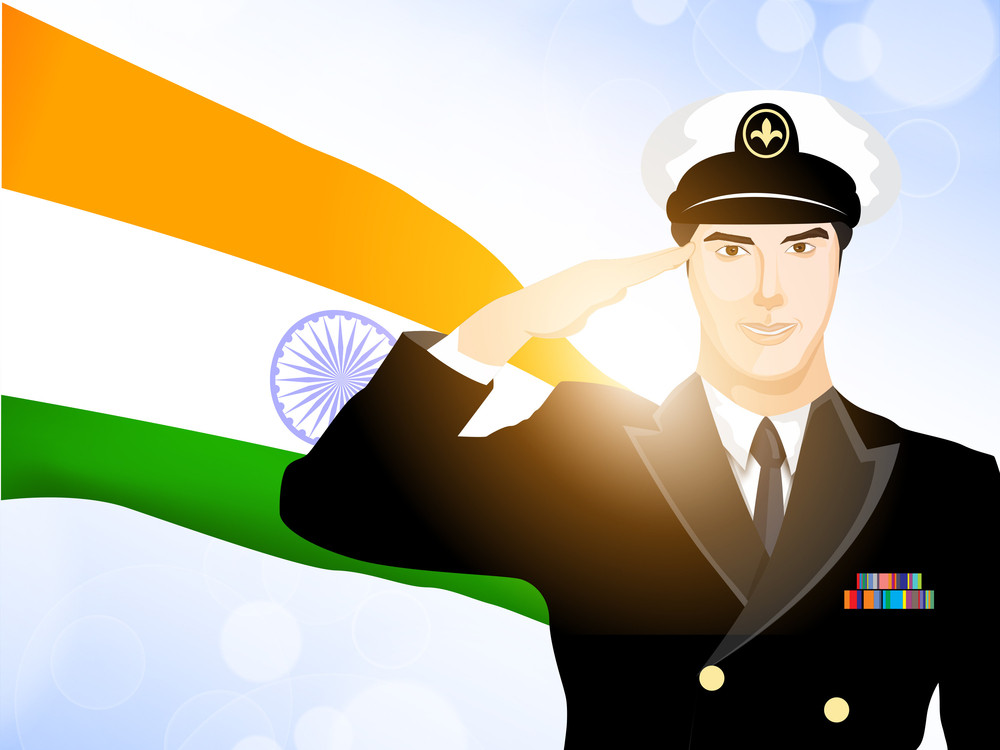 Saluting Soldier Silhouette On Indian Flag Waving Background