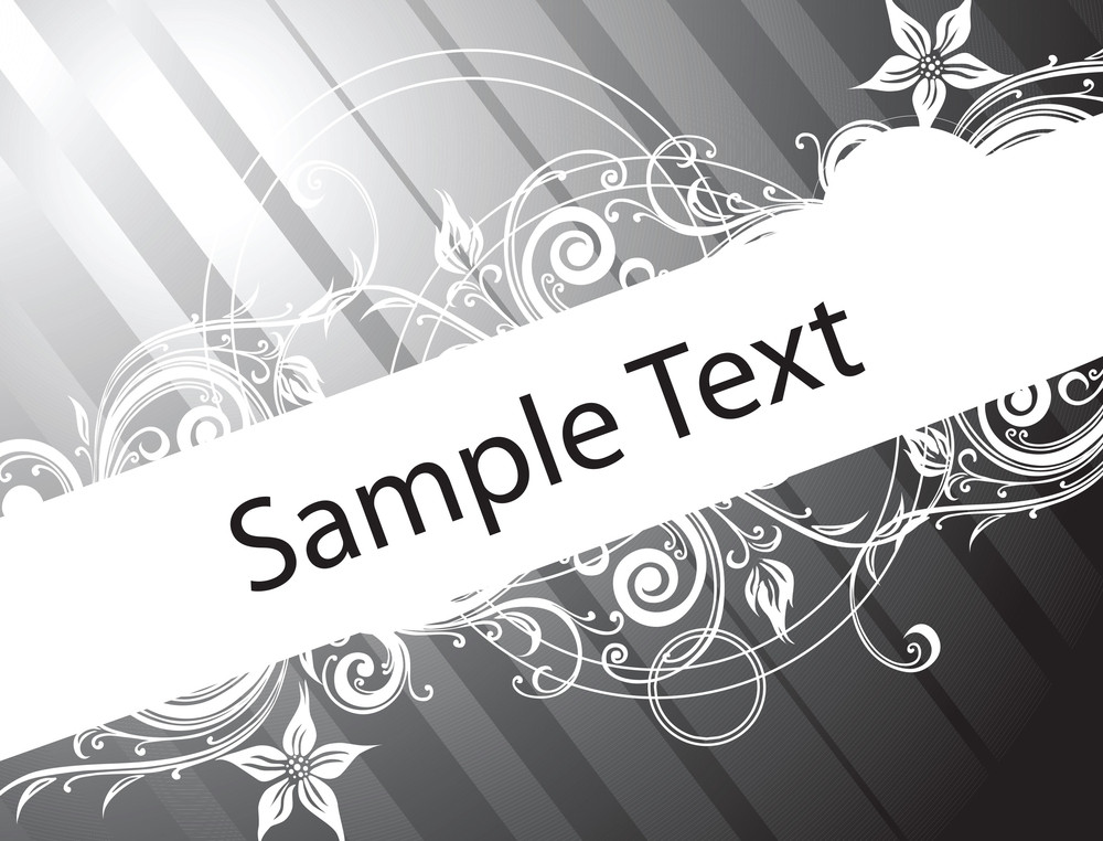 Sample Text On Black Gradient Background With Floral Elements