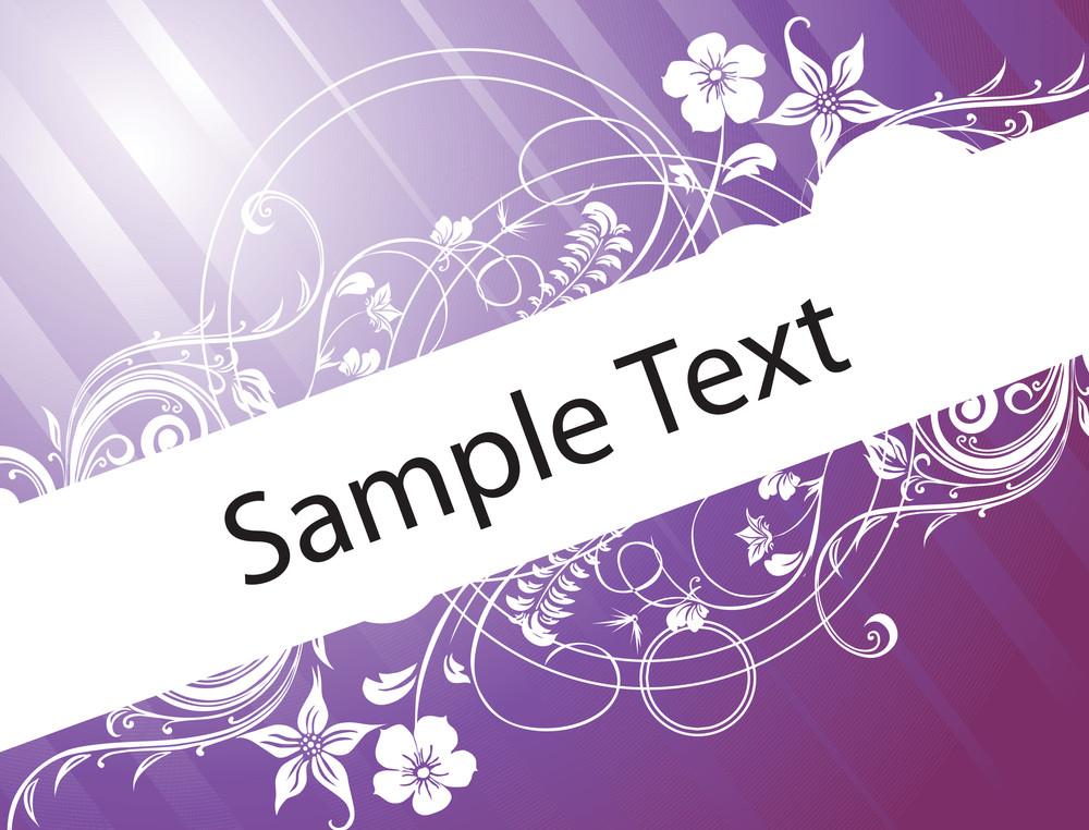 Sample Text On Blue Gradient Background With Floral Elements