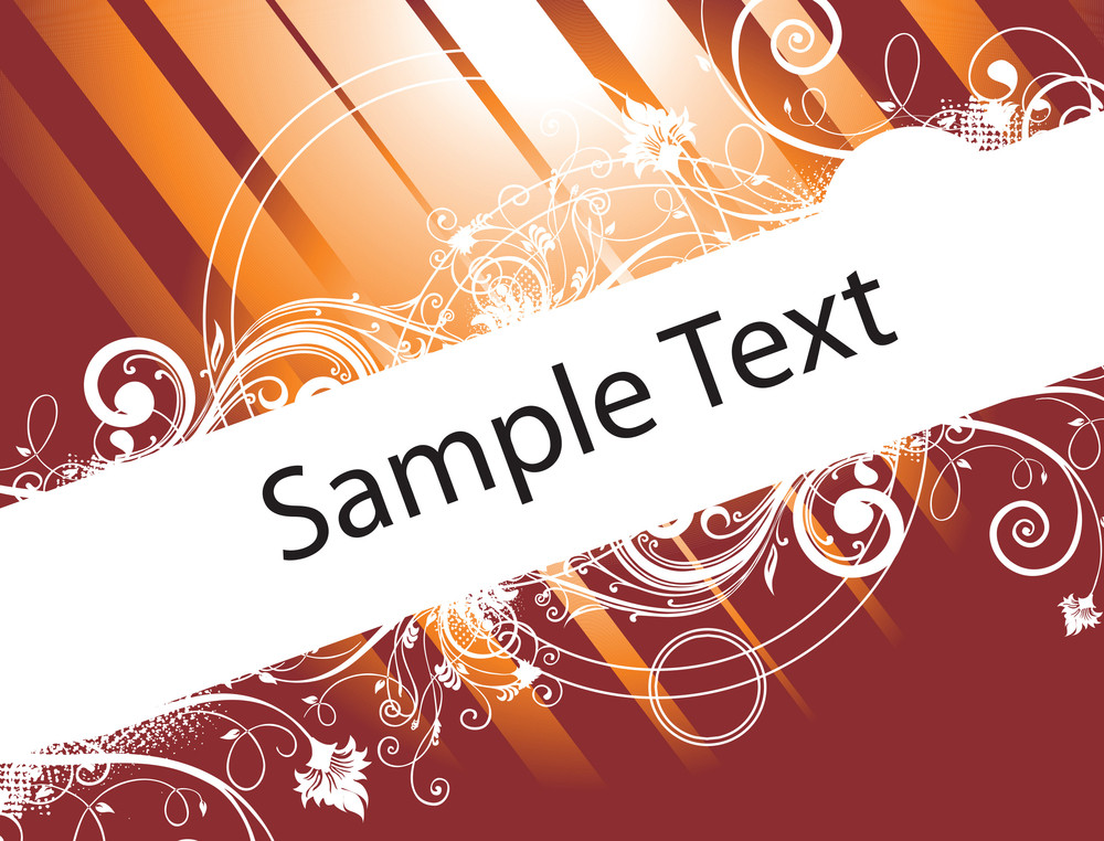 Sample Text On Brown Background With Floral Elements