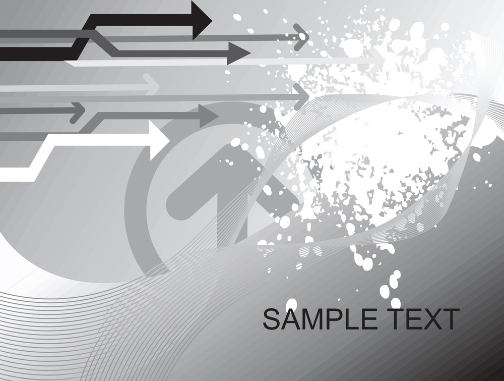 Sample Text On Gray Background With Arrows And Wave Elements
