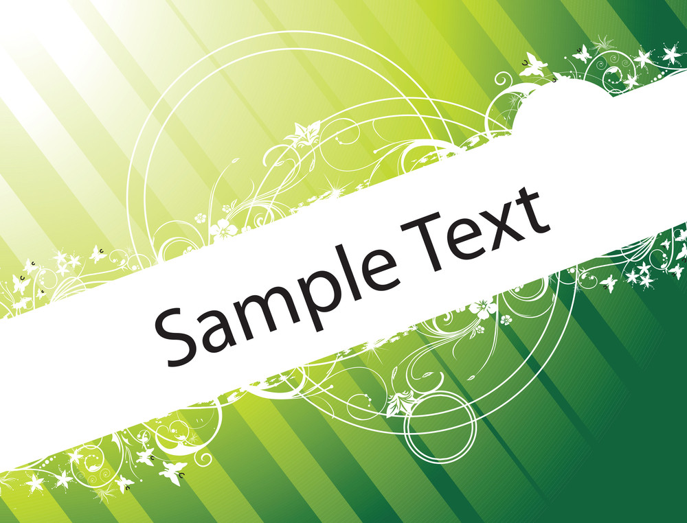 Sample Text On Green Gradient Background With Floral Elements