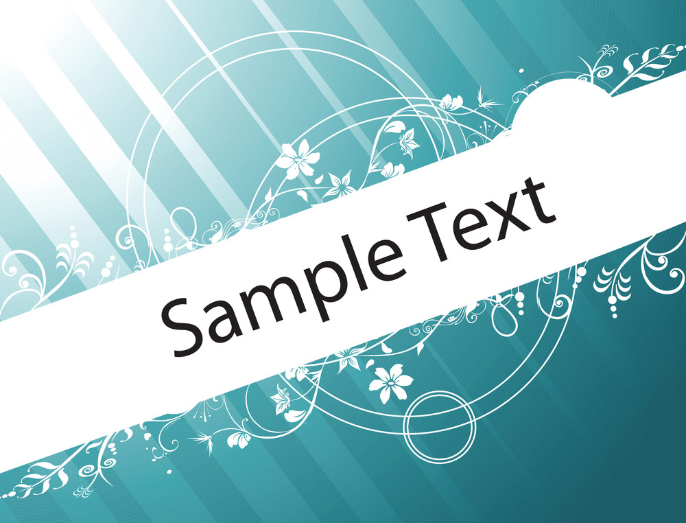Sample Text On Sea Green Gradient Background With Floral Elements